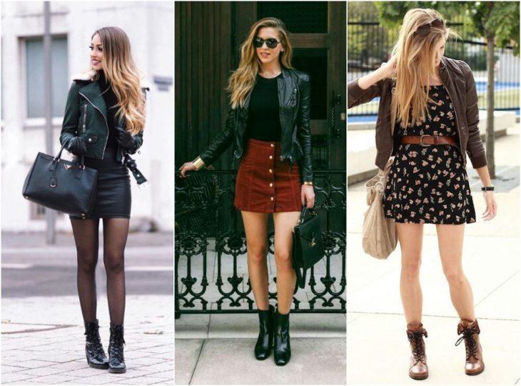 chicas usando vestidos con botas altas