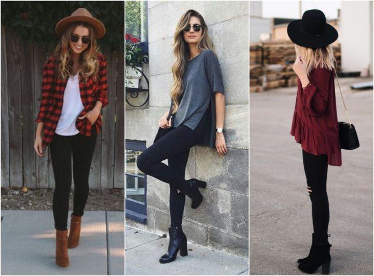 chicas usando botines con medias