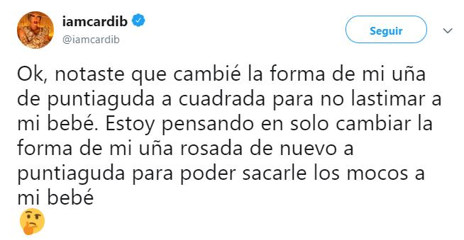 Comentarios en twitter sobre la maternidad de Cardi B y su odio a cambiar pañales