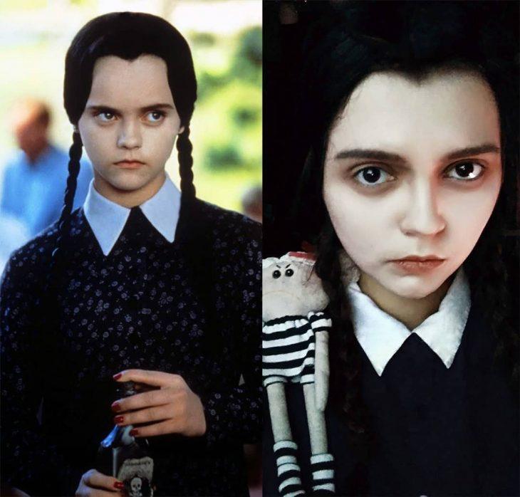Chica cosplayer disfrazada de Merlina Addams