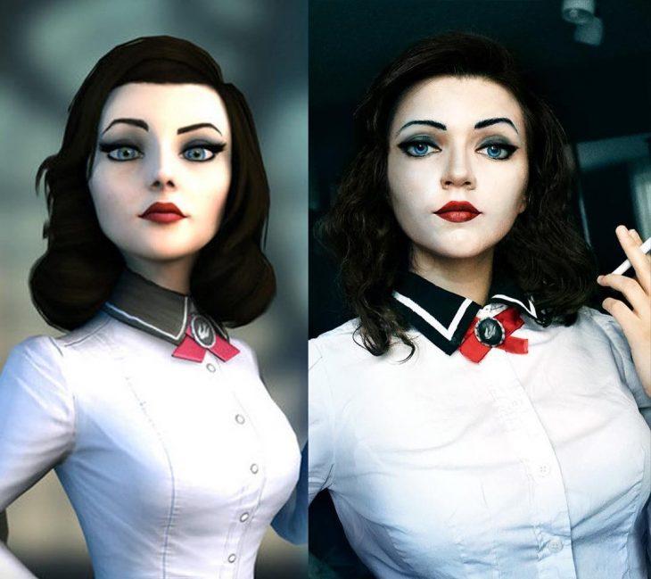 Chica cosplayer disfrazada de Elizabeth de Bioshock infinite