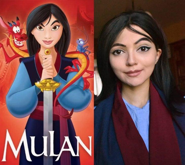 Chica cosplayer disfrazada de Mulan