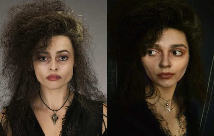 Chica cosplayer disfrazada de Bellatrix Lestrange