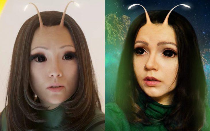 Chica cosplayer disfrazada de la Mantis de Avengers
