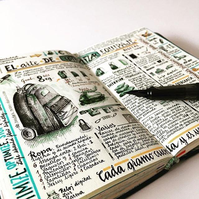 mochila dibujada en un cuaderno