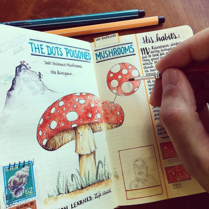hongo dibujado en una libreta