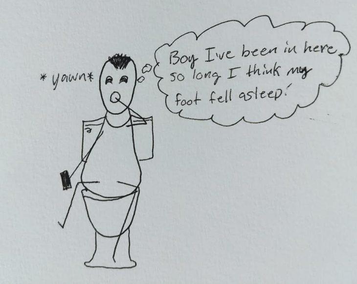 Dibujos de una madre tratando de explicarle a su esposo por qué está tan cansada