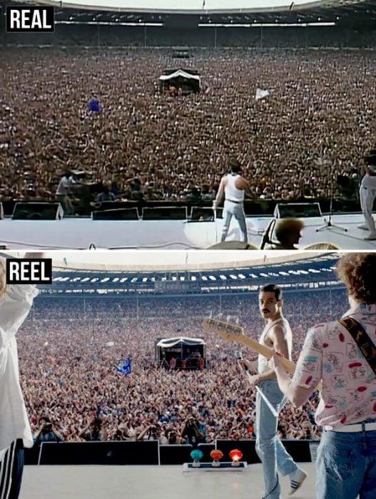 hombres en un concierto