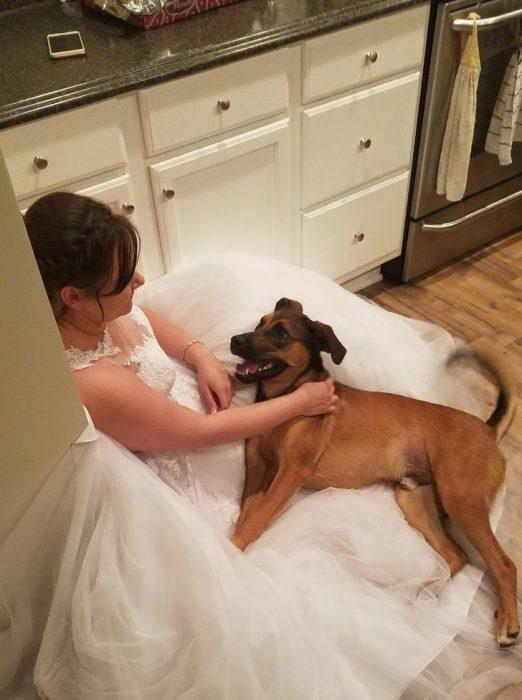 Novia sentada después de la boda junto a su perro