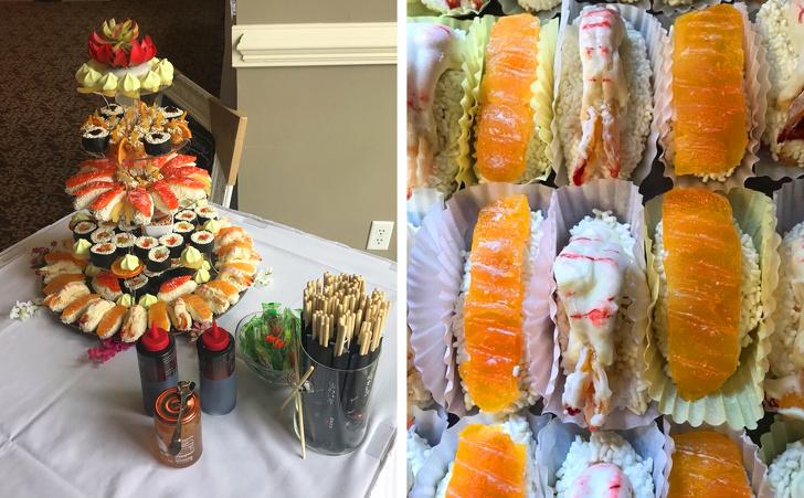 Pastel de boda hecho de sushi