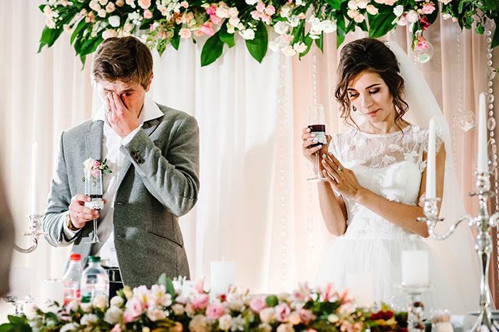 Pareja infeliz el día de su boda