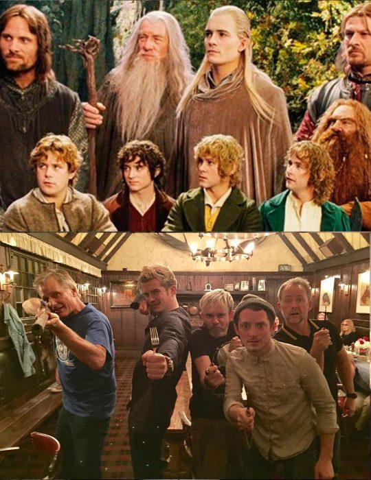 Elenco de la película El señor de los anillos reunidos antes y después