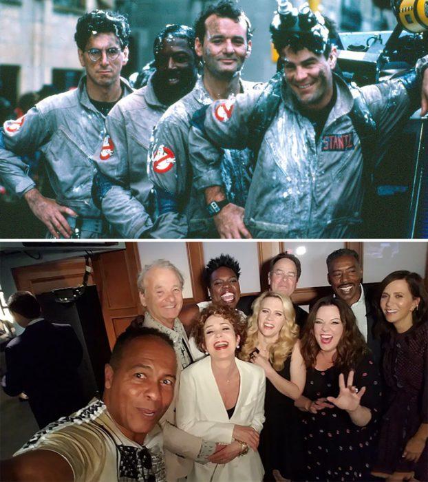 Elenco de la película Los cazafantasmas reunidos antes y después
