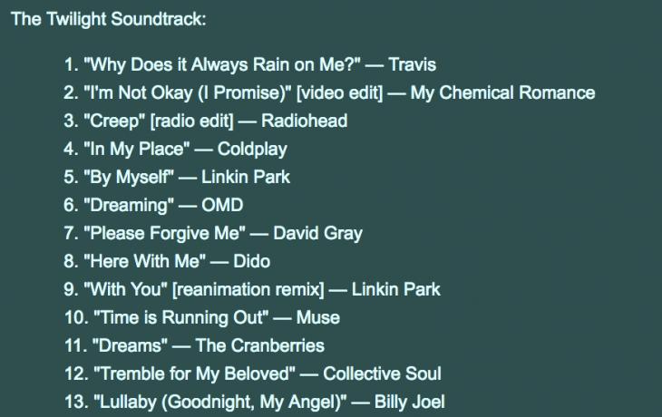 Lista de reproduccion de canciones de crepúsculo