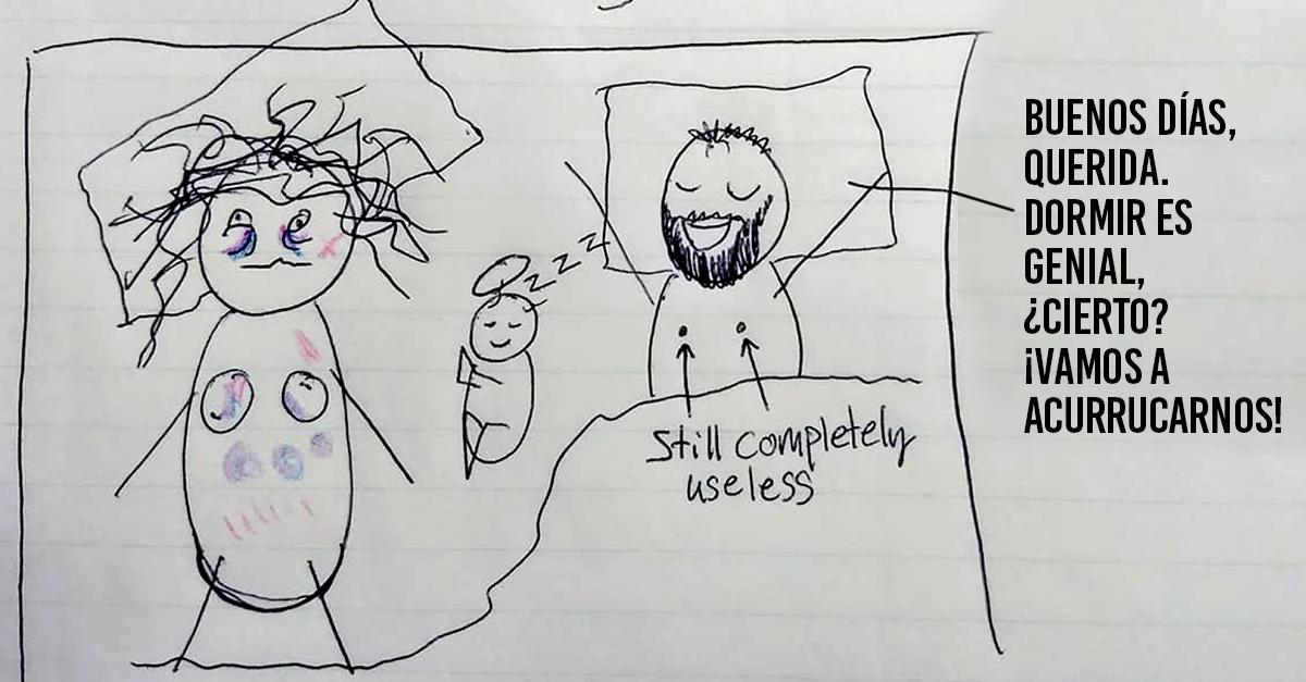 Una madre cansada intenta explicarle a su marido por qué está de mal humor tras no haber dormido