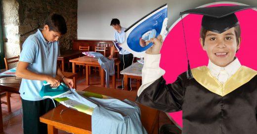 En este colegio los hombres reciben clases de planchado, cocina y costura