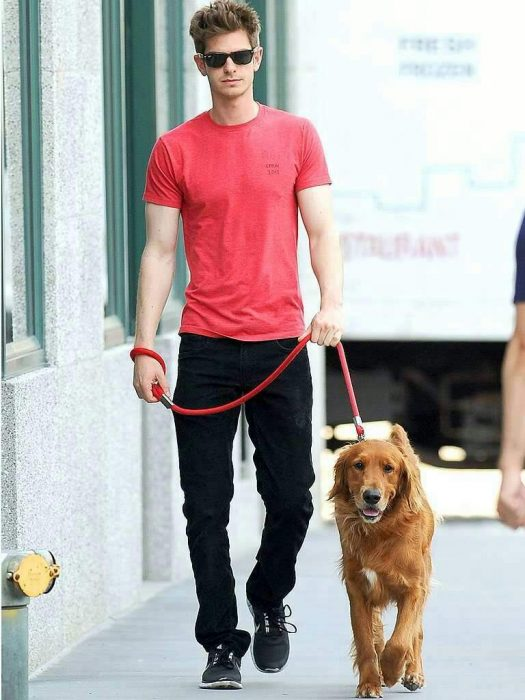 Andrew garfield paseando junto a su perro
