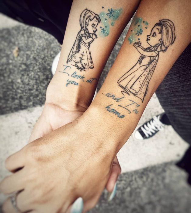 tatuajes de hermanas Elza y Anna