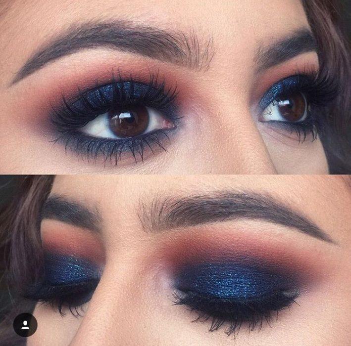 chica usando sombra azul en ojos