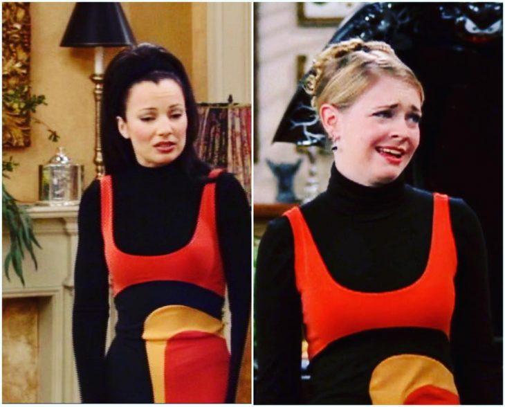 mujer con blusa negra y vestido rojo con amarillo