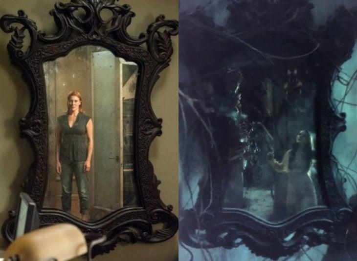 mujer viendo su reflejo en el espejo