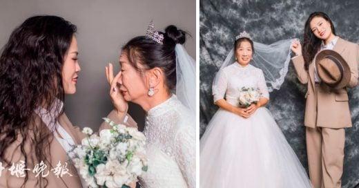 """Su hija se convirtió en """"el novio"""" para una sesión de fotos de boda"""