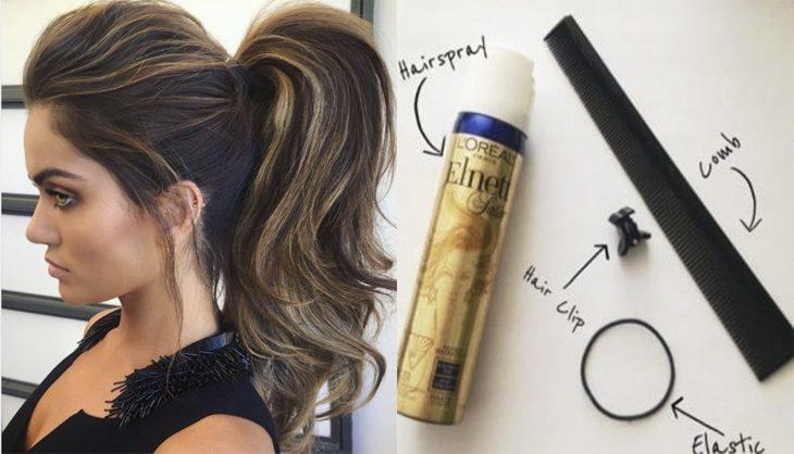 mujer con peinado y volumen spray y peinado