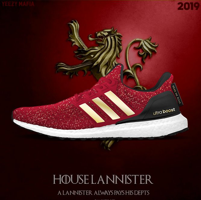 Tenis de color rojo creados por adidas e inspirados en Game of thrones