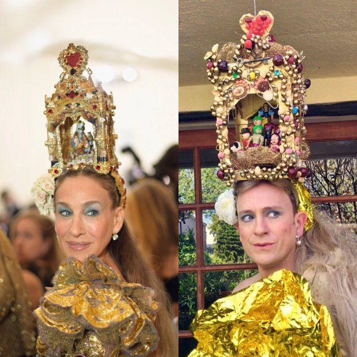 mujer con corona en la cabeza y vestido dorado