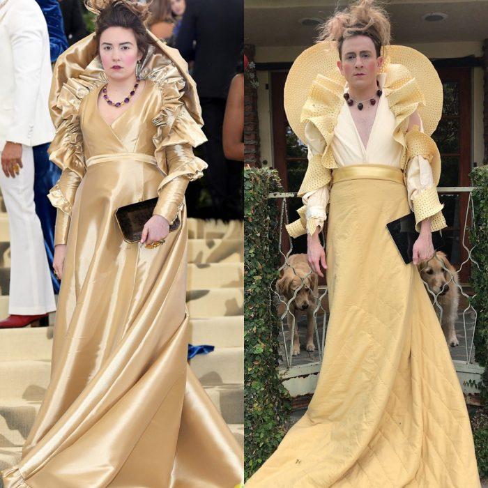 mujer con vestido dorado y cabello desarreglado