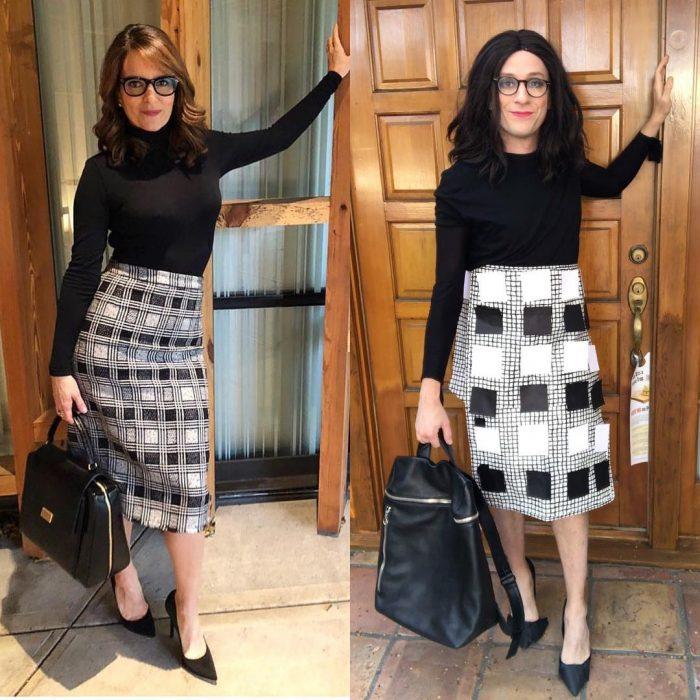mujer con falda de cuadros y camisa negra