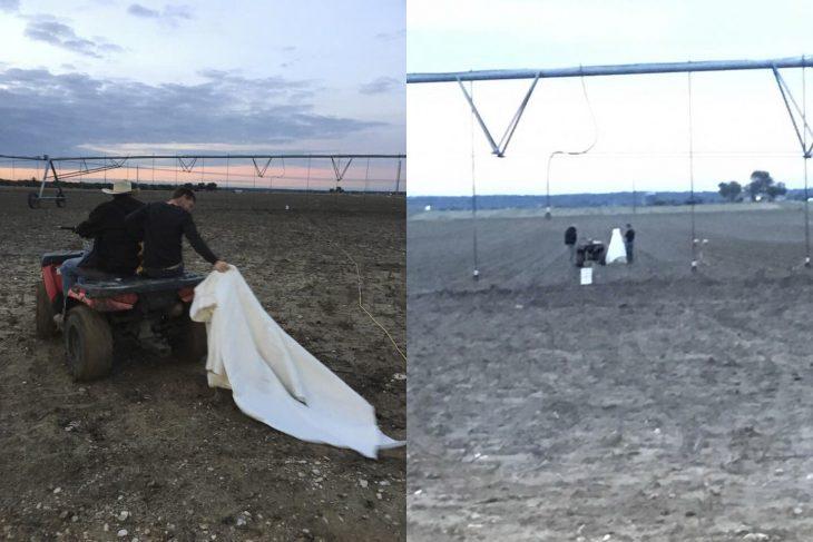 hombres en terreno con tierra y vestido arrastrando