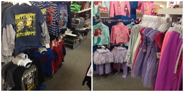 estantes de tienda con ropa para niños y niñas