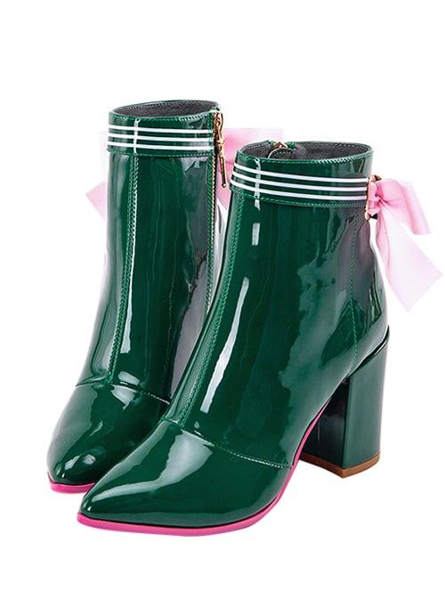 botines de tacón charol verde con lazos rosas