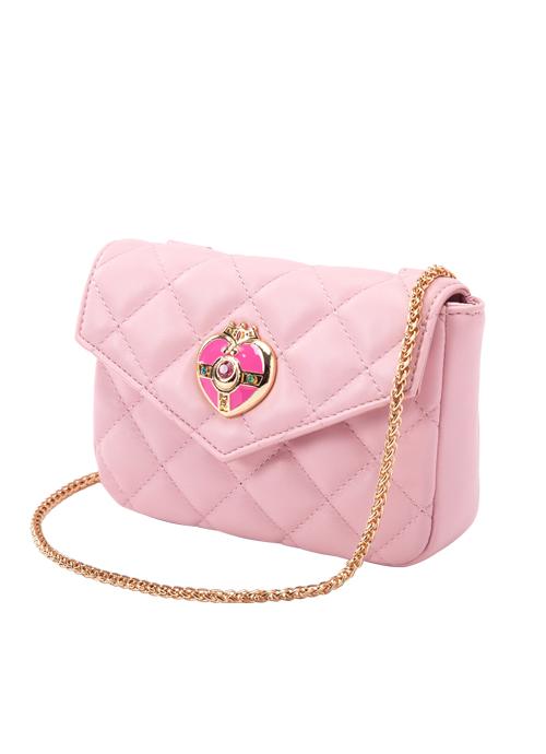 bolso rosa con correa dorada