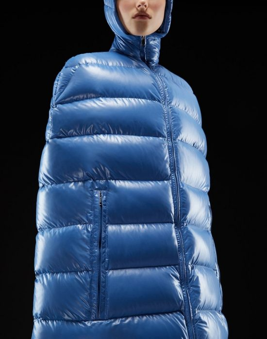 abrigo largo azul puff chamarra sin mangas
