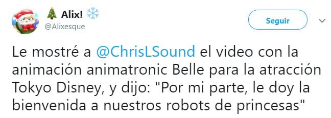 Comentarios en twitter sobre los robots de tokyo disneyland
