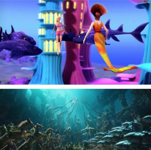 escena de la película Barbie acuática