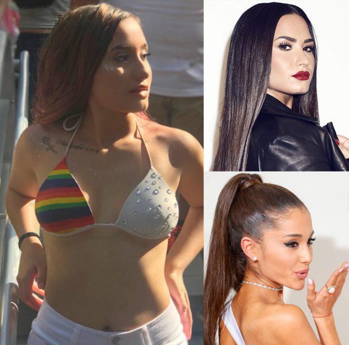 Chica que se parece a Ariana Grande y Demi Lovato