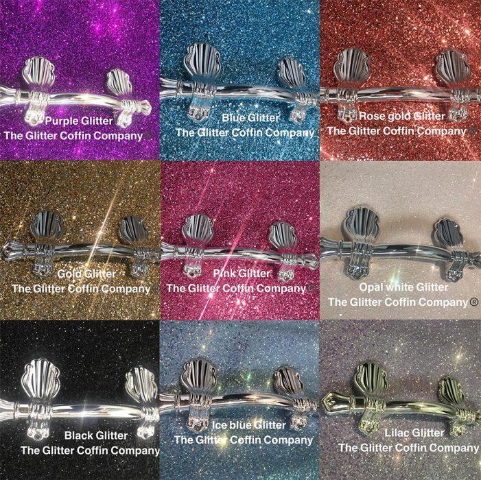 Ataúdes brillantes con glitter de diferentes colores