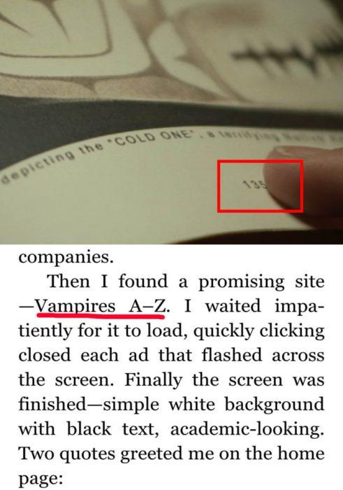 página de un libro de vampiros