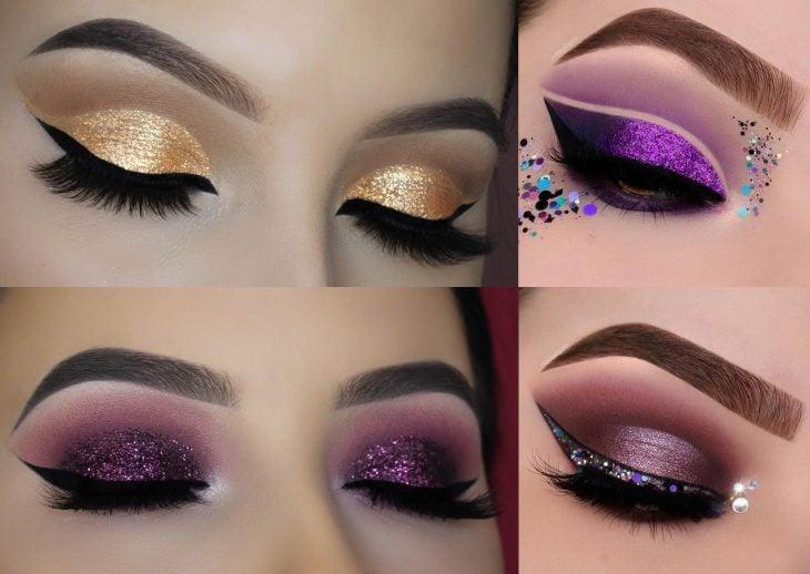 Maquillaje de glitter en los párpados