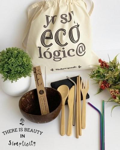 kit ecologico con bolso y cubiertos