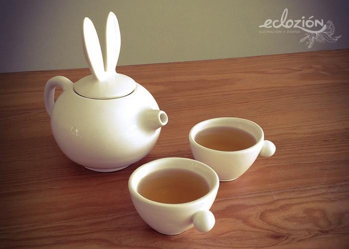 tazas y tetera de conejo