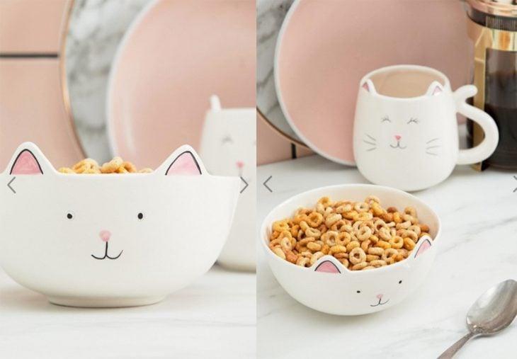 plato para cereal con forma de gatito