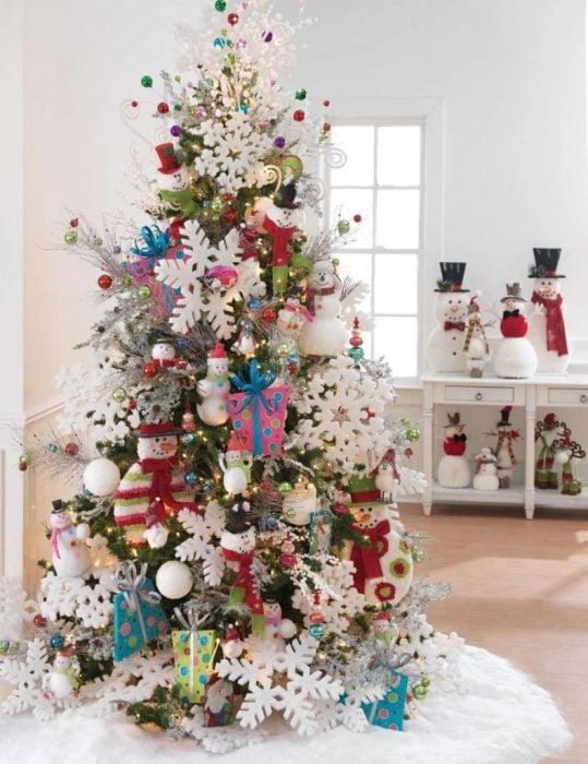 Arbol navideño con decoración rosa colores mono de nieve