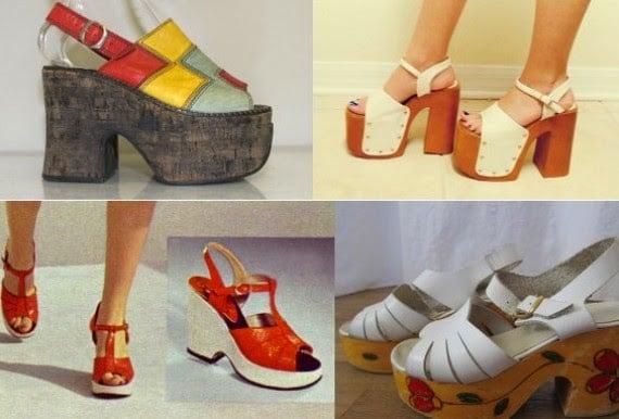 Zapatos de los años 70 plataformas