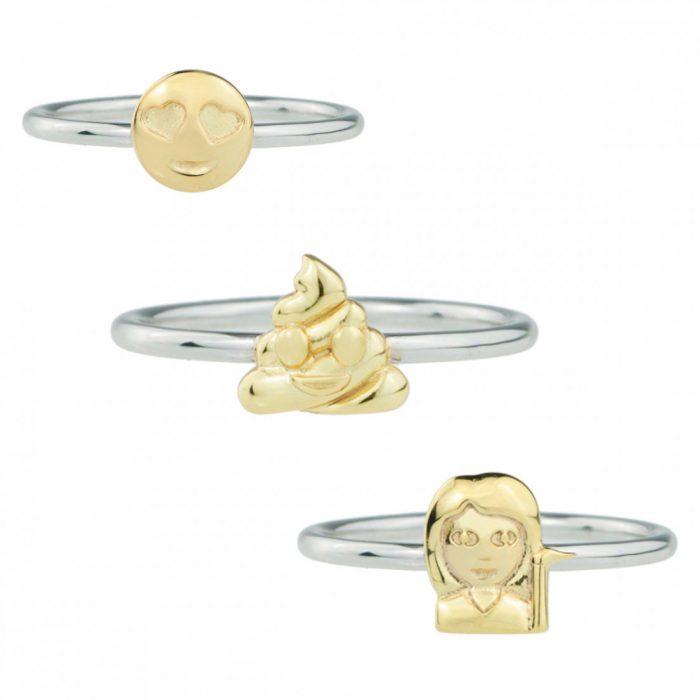 anillos de plata y oro con emoji