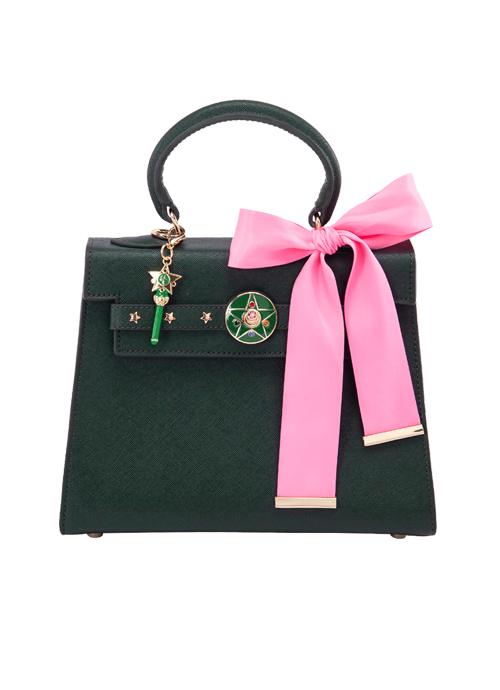 bolso verde con moño rosa