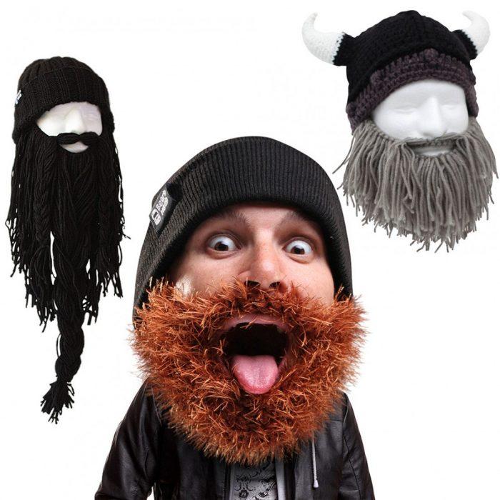 gorro con barbas tejidas